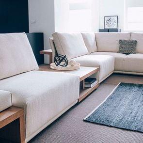 Table arrière pour canapé d'angle en tissu beige - Milano