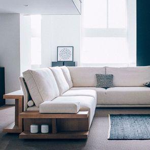 Table arrière pour canapé d'angle en tissu beige - Milano - Visuel n°2