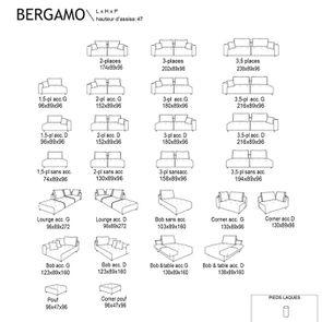 Canapé 3 places sans accoudoir en velours vert - Bergamo - Visuel n°3