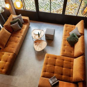 Canapé Bob table gauche en velours orange - Bergamo - Visuel n°3