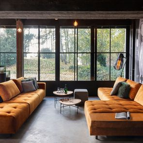 Canapé Bob table gauche en velours orange - Bergamo - Visuel n°4