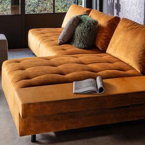 Canapé Bob table droit en velours orange - Bergamo - Visuel n°2