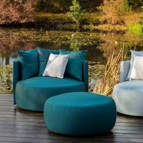 Pouf en velours bleu 90 cm - Paolo - Visuel n°2
