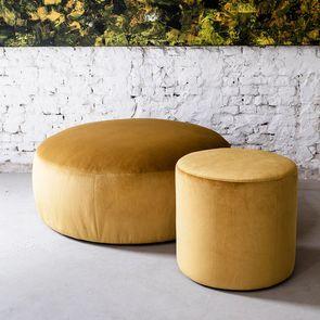 Pouf en velours doré 110 cm - Paolo - Visuel n°2