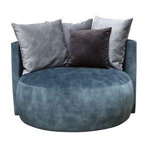 Fauteuil lounge en velours bleu pétrole - Paolo