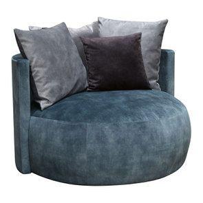 Fauteuil lounge en velours bleu pétrole - Paolo - Visuel n°2