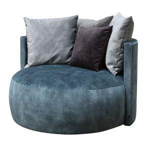 Fauteuil lounge en velours bleu pétrole - Paolo - Visuel n°3