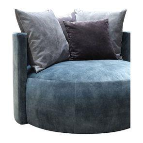 Fauteuil lounge en velours bleu pétrole - Paolo - Visuel n°4
