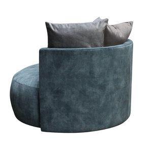 Fauteuil lounge en velours bleu pétrole - Paolo - Visuel n°6