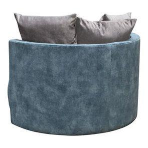 Fauteuil lounge en velours bleu pétrole - Paolo - Visuel n°7