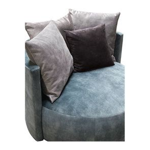 Fauteuil lounge en velours bleu pétrole - Paolo - Visuel n°8
