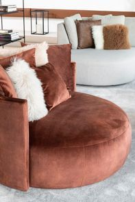 Fauteuil lounge en velours marron - Paolo - Visuel n°3