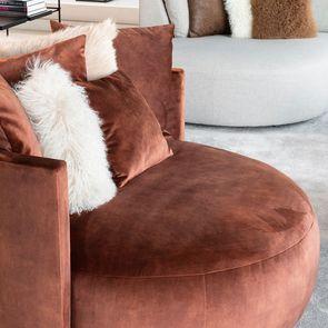 Fauteuil lounge en velours marron - Paolo - Visuel n°4
