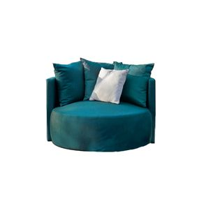 Fauteuil lounge en velours bleu - Paolo - Visuel n°1