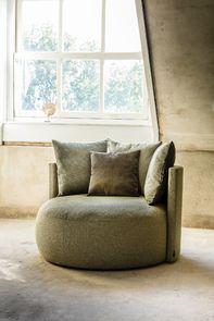 Fauteuil lounge en tissu vert - Paolo