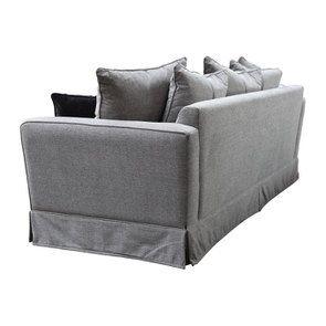 Canapé 3,5 places en tissu gris - Nelson - Visuel n°5