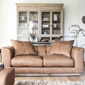 Canapé 3 places en cuir camel avec coussins - Brighton - Visuel n°2