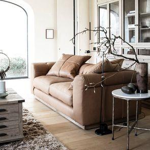 Canapé 3 places en cuir camel avec coussins - Brighton - Visuel n°3