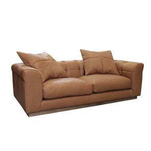 Canapé 3 places en cuir camel avec coussins - Brighton - Visuel n°4