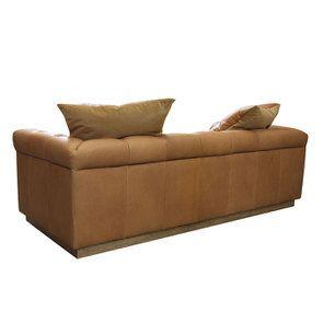 Canapé 3 places en cuir camel avec coussins - Brighton - Visuel n°5