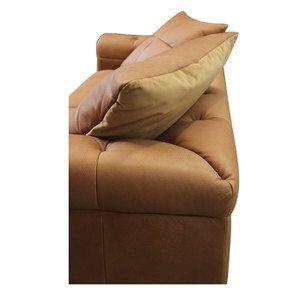 Canapé 3 places en cuir camel avec coussins - Brighton - Visuel n°6