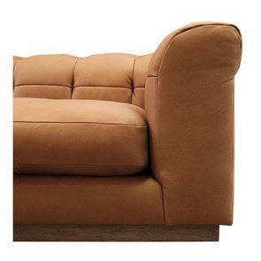 Canapé 3 places en cuir camel avec coussins - Brighton - Visuel n°7