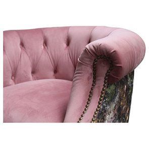 Fauteuil en tissu bicolore rose et fleuri - Victoria