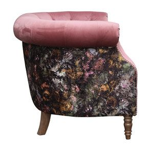 Fauteuil en tissu bicolore rose et fleuri - Victoria - Visuel n°3