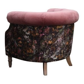 Fauteuil en tissu bicolore rose et fleuri - Victoria - Visuel n°4