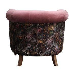 Fauteuil en tissu bicolore rose et fleuri - Victoria - Visuel n°6
