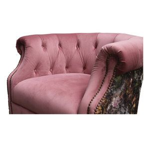 Fauteuil en tissu bicolore rose et fleuri - Victoria - Visuel n°7
