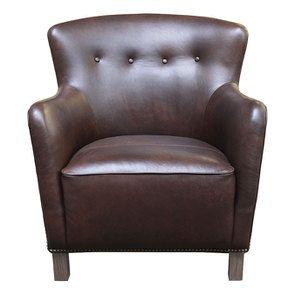Fauteuil en cuir marron - Sheffield - Visuel n°1