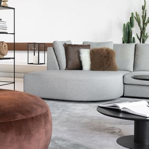 Canapé d'angle en tissu gris clair - Syracuse - Visuel n°4