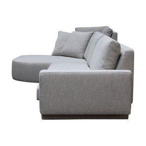 Canapé d'angle en tissu gris clair - Syracuse - Visuel n°7
