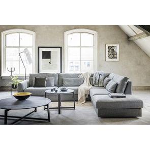 Canapé d'angle 5 places en tissu gris - Baltimore - Visuel n°2