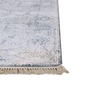 Tapis bleu à poils courts 200x290 - Milad