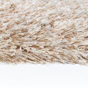 Tapis rond à poils longs beige foncé D160cm - Céleste