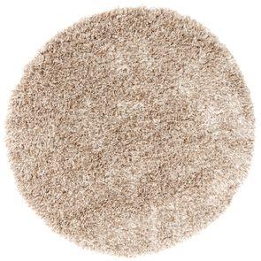 Tapis rond à poils longs beige foncé D200cm - Céleste