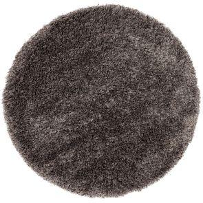 Tapis rond à poils longs gris brun D160cm - Céleste