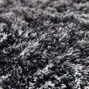 Tapis rond à poils longs gris brun D200cm - Céleste