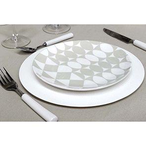 Assiettes plates en porcelaine motifs géométriques (lot de 4)