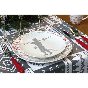 Assiettes à dessert en porcelaine motifs skieurs (lot de 4)