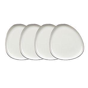 Assiettes plates blanches en porcelaine d26 cm (lot de 4)