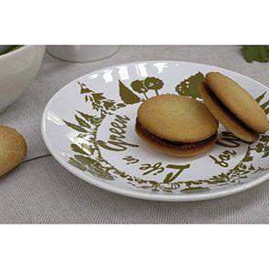 Assiettes à dessert en faïence blanche et verte (lot de 6)