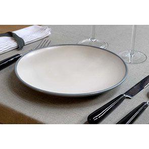 Assiettes à dessert en grès blanc et gris (lot de 4)