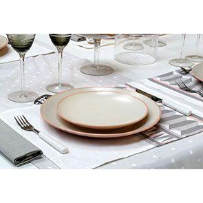 Assiettes à dessert en grès blanc et rose (lot de 4)