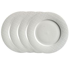 Assiettes plates en porcelaine blanche motifs tissés (lot de 4)