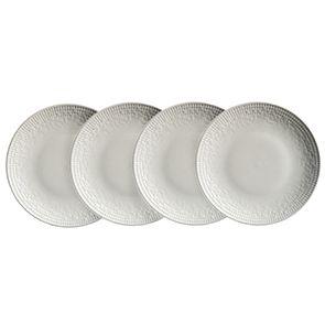 Assiettes à dessert en porcelaine blanche motifs mosaïques (lot de 4)