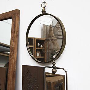 Miroir rond en métal doré - Visuel n°2