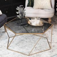 Table basse en métal et verre fumé